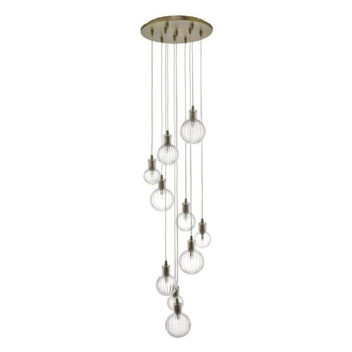 Dita 10lt Cluster Pendant Brass & Glass (double insulated) BXDIT2342-17